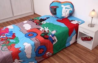 Přehoz na postel jednolůžko Bob a Bobek - hrací deka
