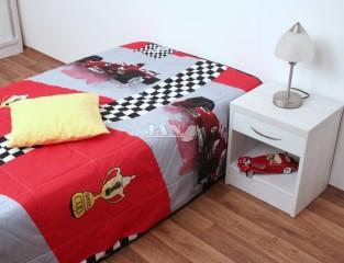 Přehoz na postel jednolůžko - Formule červená - hrací deka