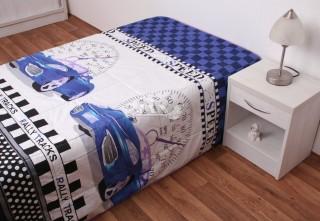 Přehoz na postel jednolůžko - Závodní auto modrý-hrací deka