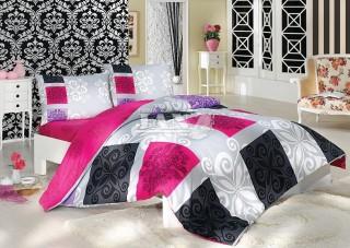 Bavlněné povlečení - černé/fialové/růžové velké kostky