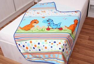 Dětská deka fleece + bavlna Tyrkys dino