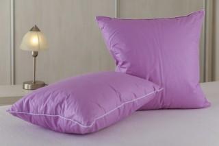Polštářek od 20x20 cm do 50x50 cm - husí ručně drané peří - fialový