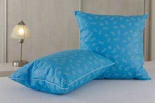 Polštářek prachové peří od 30x30 cm do 50x50 cm - modré s peříčkem