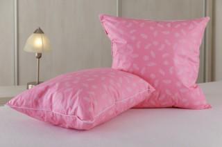 Polštářek prachové peří od 30x30 cm do 50x50 cm - růžový s peříčkem