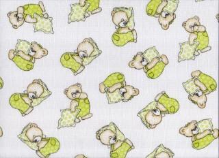 Plena látková 70x70 cm, 5ks/bal, potisk medvídek na zeleném polštářku