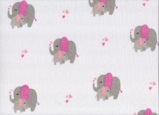 Plena látková 70x70 cm, potisk růžoví sloni, 5 ks v balení