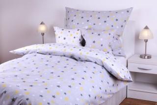 Ložní souprava bavlna - kombinace hvězdy šedé/bílé