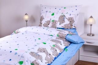Dětské povlečení bavlněné - slůně modré