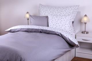 Bavlněné povlečení - kombinace šedý puntík/bílá růžička