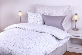 Povlečení bavlna - kombinace bílá růžička/bílý puntík