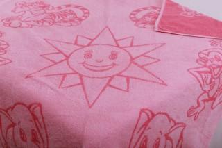 Dětská froté osuška 100x100 cm - sluníčko růžové 2. jakost