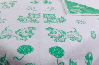 Dětská froté osuška maxi 100x100 cm - zelený pes/kotě