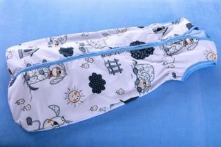 Pytlík na spaní - letní - pes s boudou/modrá - 90cm