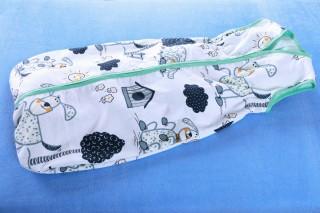 Pytlík na spaní letní - pes s boudou/zelená - 90 cm