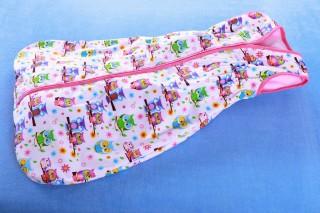 Dětský pytlík na spaní letní 80 - 150 cm fialová sova + kytka