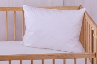 Dětský polštář do postýlky husí ručně drané peří 60 x 45 cm bílý