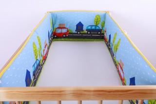 Mantinel - nárazníček dětský do postýlky 3 strany/auta na cestě