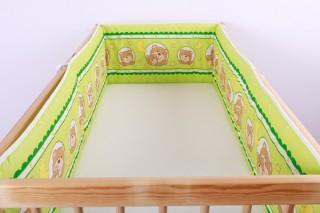 Mantinel - nárazníček dětský do postýlky 3 strany/méďa v kroužku zelený