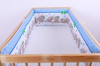 Mantinel - nárazníček dětský do postýlky 3 strany/slůně modré