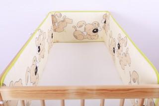 Mantinel - nárazníček dětský do postýlky 3 strany/béžový pejsek velký