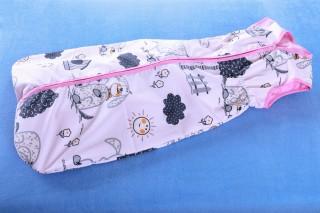 Pytlík na spaní - letní - pes s boudou + růžová - 90cm