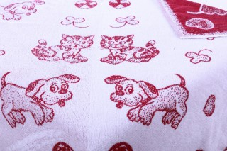 Dětská froté osuška maxi 100 x 100 cm - vínový pes/kotě