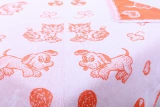 Dětská froté osuška maxi 100x100 cm - oranžový pes/kotě