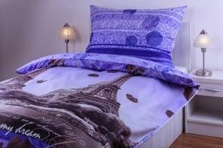 Bavlněné povlečení - Romantika v Paříži - fialové
