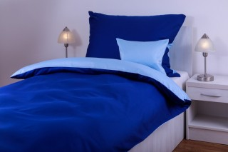 Povlečení bavlněný satén - kombinace tmavě modrá/tyrkys