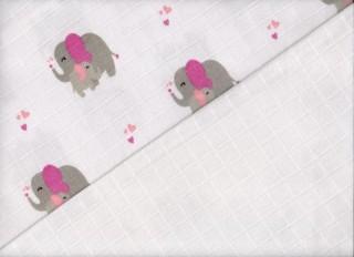 Plenková osuška tetra 2 ks 90x100 cm potisk slon růžový/bílá