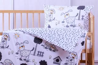 Povlečení do dětské postýlky kombinace - Pes s boudou + puntík 135x90/60x45 cm