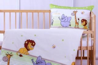 Povlečení do dětské postýlky - Safari zelené 135x90/60x45 cm