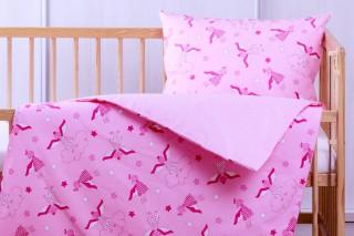 Povlečení do postýlky - kombinace růžový andělíček/růžový puntík 135x90/60x45 cm