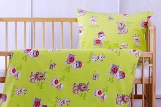Flanelové povlečení do postýlky - Pejskové zelení 135x90/60x45 cm