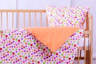 Povlečení do postýlky - kombinace puntíky/oranžová 135x90/60x45 cm