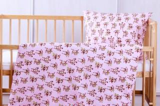 Povlečení do dětské postýlky - růžové opičky 135x90/60x45 cm bavlna
