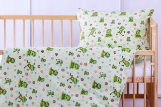Povlečení do dětské postýlky - zelené žabky 135x90/60x45 cm bavlna