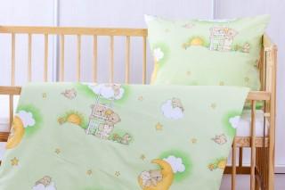 Povlečení do dětské postýlky - Zelený medvídek na žebříku 135x90/60x45 cm bavlna