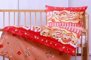 Povlečení do postýlky - spící medvídek 135x90/60x45 cm červený