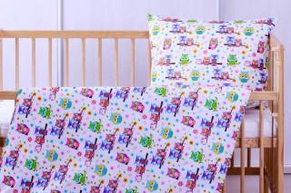 Povlečení do dětské postýlky - fialová sova + kytka 135x90/60x45 cm