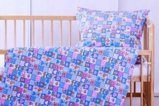 Flanelové dětské povlečení - růžovo/modrá kostička 135x90/60x45 cm