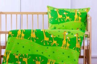 Krepové povlečení do postýlky - žirafka zelená 135x90/60x45 cm