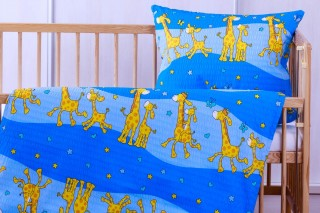 Krepové povlečení do postýlky - Žirafa modré 135x90/60x45 cm