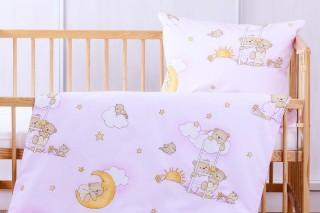 Povlečení do dětské postýlky - Růžový medvídek na žebříku 135x90/60x45 cm bavlna
