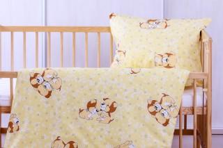 Povlečení do postýlky - žlutý pejsek 135x90/60x45 cm bavlna