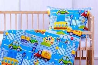 Dětské povlečení do postýlky - kids car 60x45cm/135x90 cm bavlna