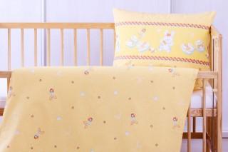 Dětské povlečení do postýlky - bačkůrky žluté 60x45cm/135x90 cm bavlna