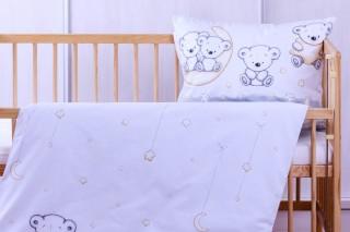 Dětské povlečení do postýlky - medvídek na měsíci 60x45cm/135x90 cm bavlna