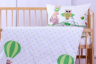 Dětské povlečení do postýlky - sova zelená 60x45cm/135x90 cm bavlna