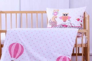 Dětské povlečení do postýlky - sova růžová 60x45cm/135x90 cm bavlna